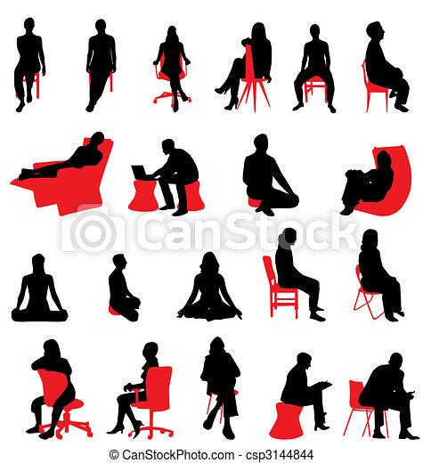 Sentando siluetas de la gente - csp3144844