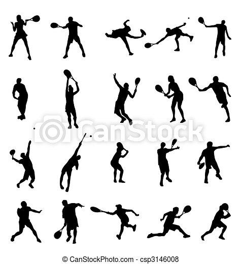 Colección de siluetas de tenis - csp3146008