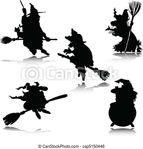 Vector de brujas siluetas - csp5150448
