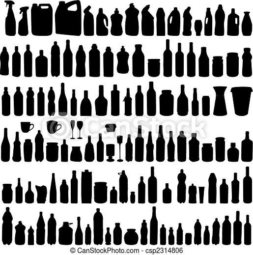 siluetas, vector, colección, botella - csp2314806