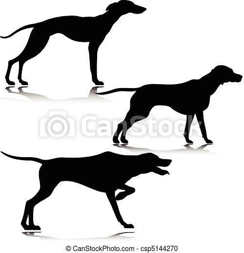 Tres siluetas de vector de perros negros - csp5144270