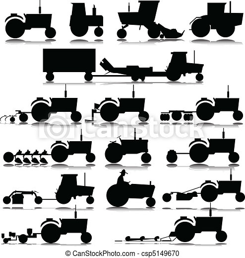 Tractor vector siluetas - csp5149670