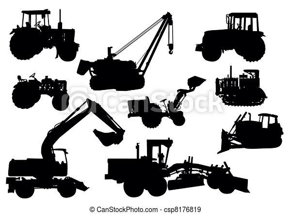 Vector, siluetas tractores - csp8176819