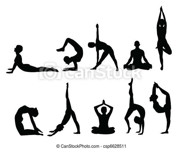 siluetas de yoga   canstock