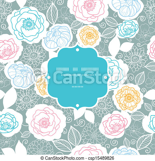 Silver and colors florals frame seamless pattern background - csp15489826