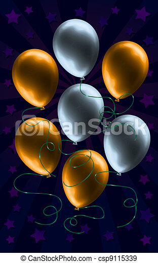 Silver and Gold Balloon Background  - csp9115339