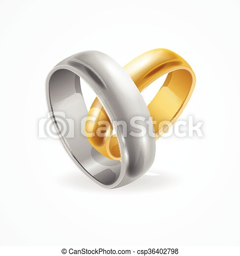 Silver and gold wedding ring vector Silver and gold eps vectors