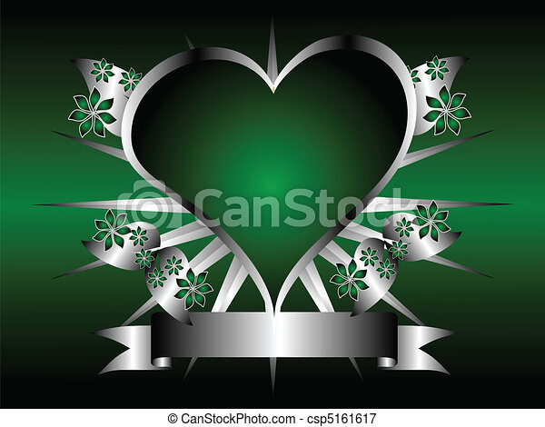 Silver And Green Hearts Background