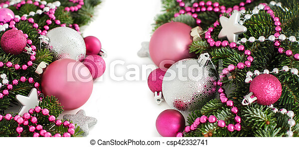 Silver And Pink Christmas Ornaments Border