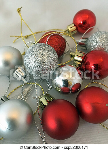 Silver and red christmas decorations - csp52306171