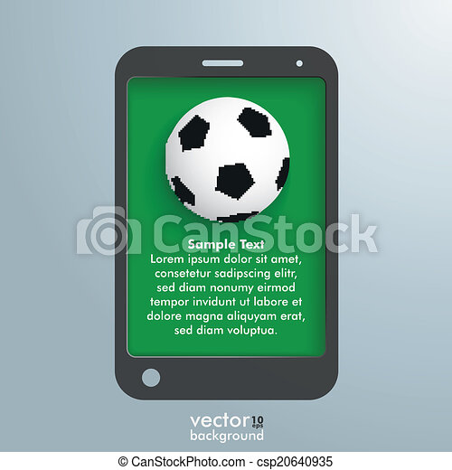 Silver Background Smartphone Football - csp20640935