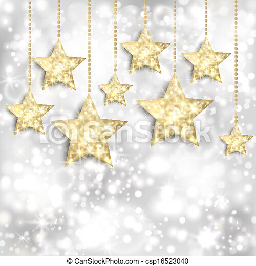 Silver background with gold stars and twinkly lights - csp16523040