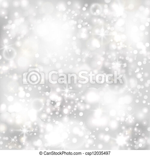 Silver background with stars and twinkly lights - csp12035497