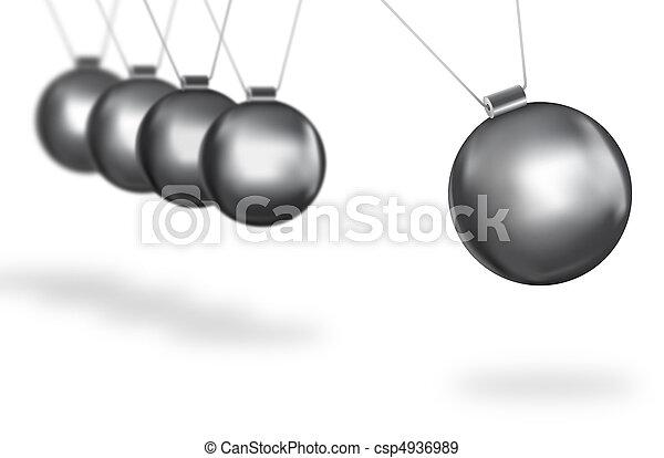 silver balls swinging concept - csp4936989