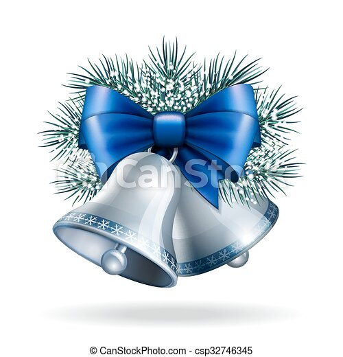 Silver bells with blue ribbon.  - csp32746345