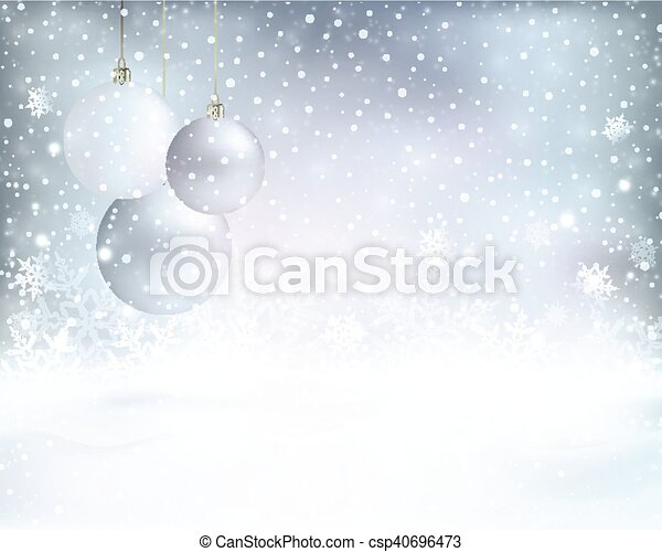 Silver Blue Christmas Background With Baubles And Snowfall