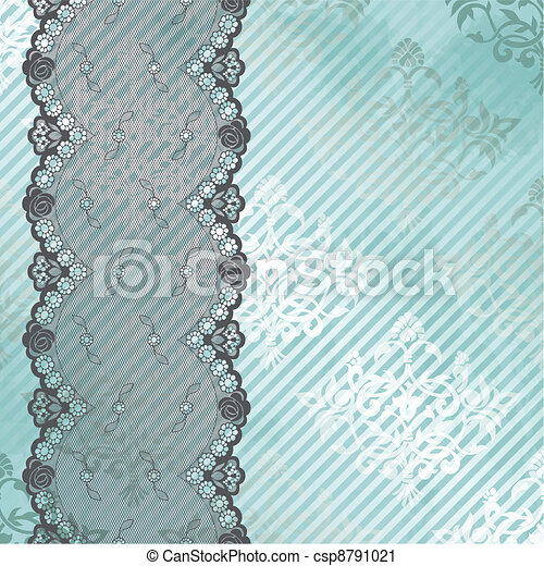 Silver blue vector with black lace - csp8791021