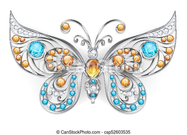 Silver butterfly with amber - csp52603535