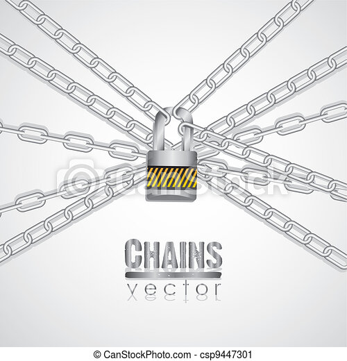 Silver chains attached by a padlock - csp9447301