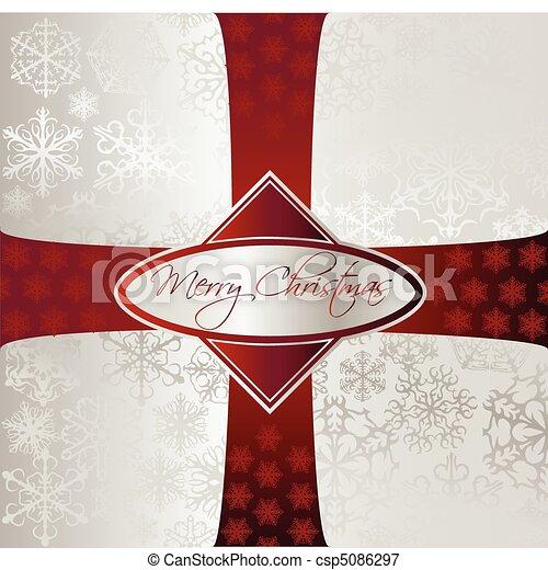 Silver Christmas Background. Vector - csp5086297