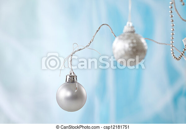 silver christmas baubles - csp12181751