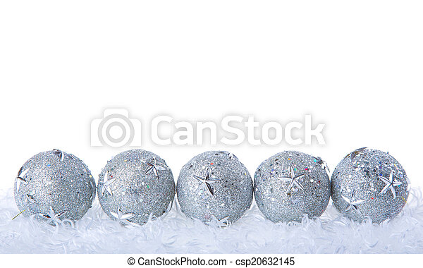 Silver Christmas baubles - csp20632145