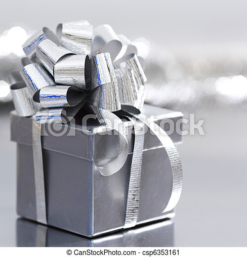 silver christmas gift - csp6353161