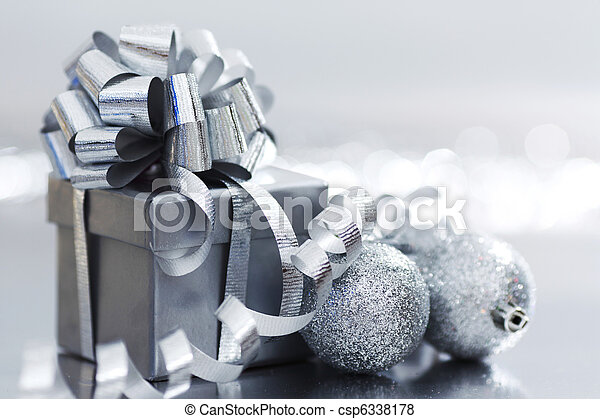 silver christmas gift - csp6338178