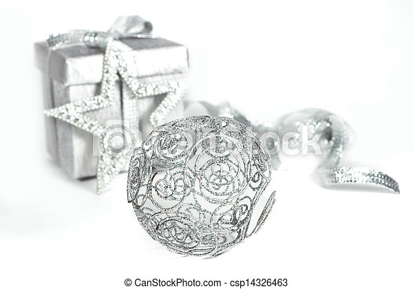Silver christmas gift - csp14326463