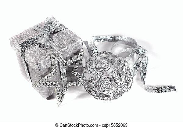 Silver christmas gift - csp15852063