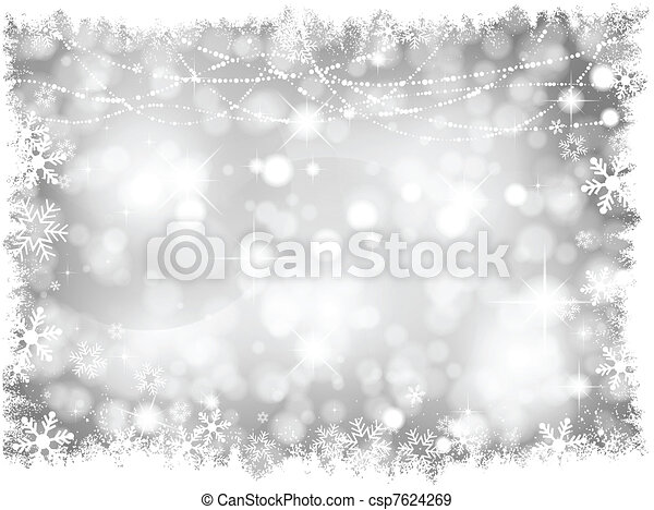 Silver Christmas lights Background - csp7624269