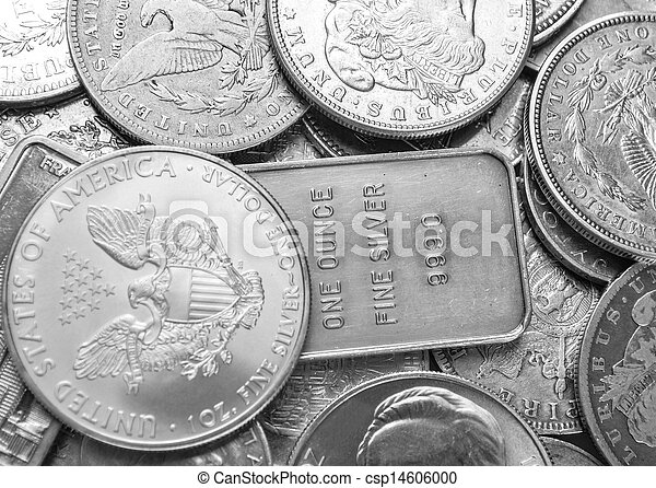 Silver coins and bars background - csp14606000