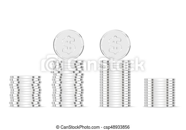 Silver coins. Realistic silver money isolated on white background - csp48933856