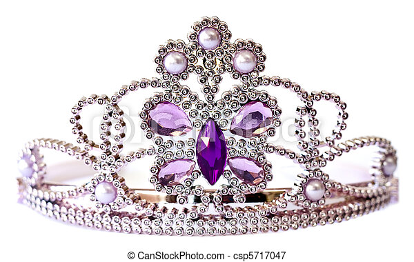 Silver color tiara with purple and lilac stones and pearls isolated on white background - csp5717047