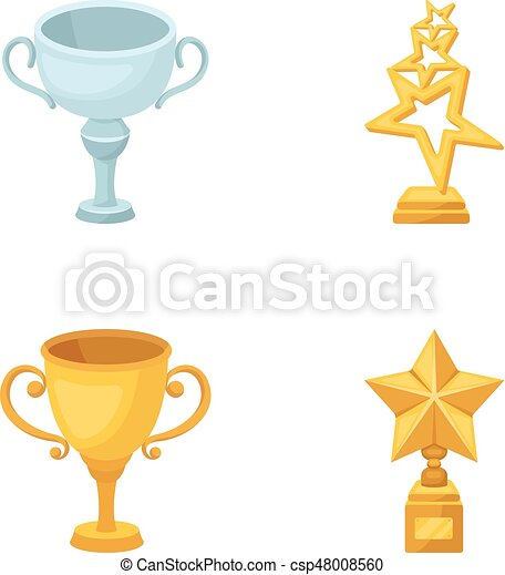 Silver Cup For The Second Place Gold Stars On The Stand A Clip