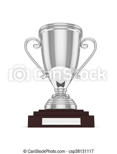 Silver cup on white. 3D rendering. - csp38131117