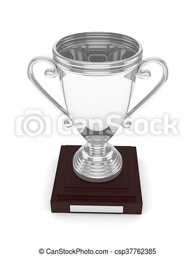 Silver cup on white. 3D rendering. - csp37762385
