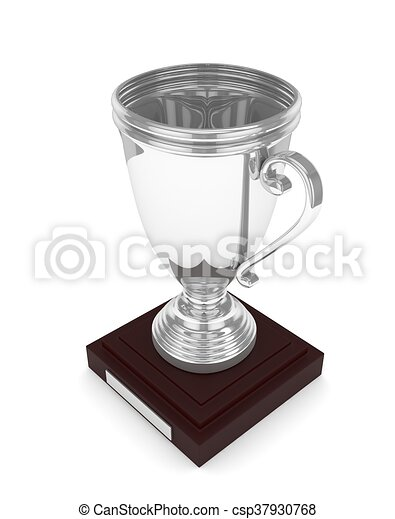 Silver cup on white. 3D rendering. - csp37930768