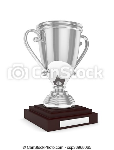 Silver cup on white. 3D rendering. - csp38968065