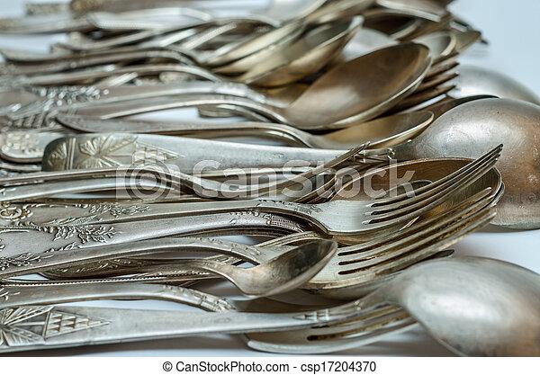 Silver cutlery close-up - csp17204370