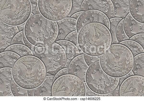 Silver dollar coins background - csp14606225