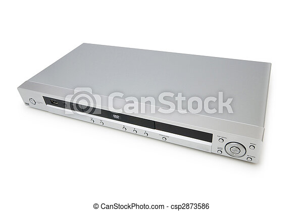 Silver DVD player isolated on the white - csp2873586