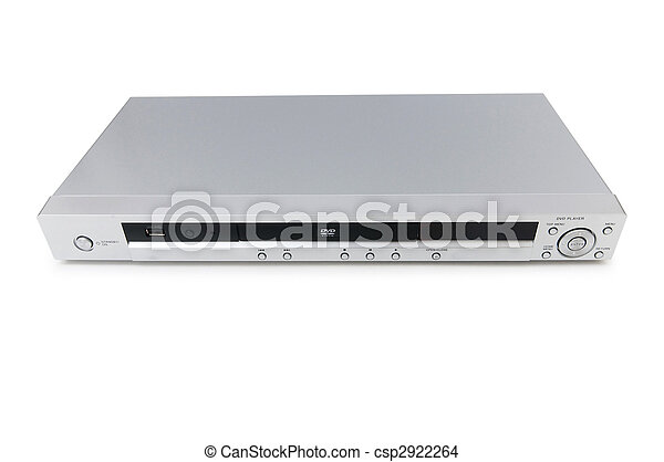 Silver DVD player isolated on the white  - csp2922264