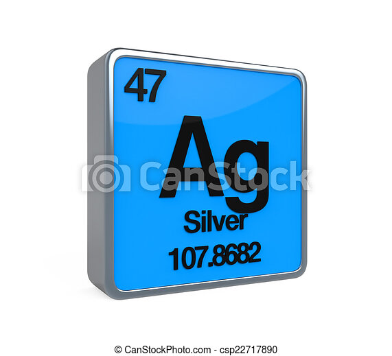 Silver Element Periodic Table Isolated On White Background 3d Render