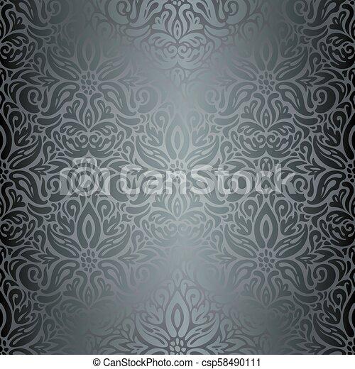 Silver Floral Decorative Vintage Wallpaper Background
