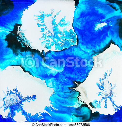 Silver Flowers Alcohol Ink Design - csp55973506