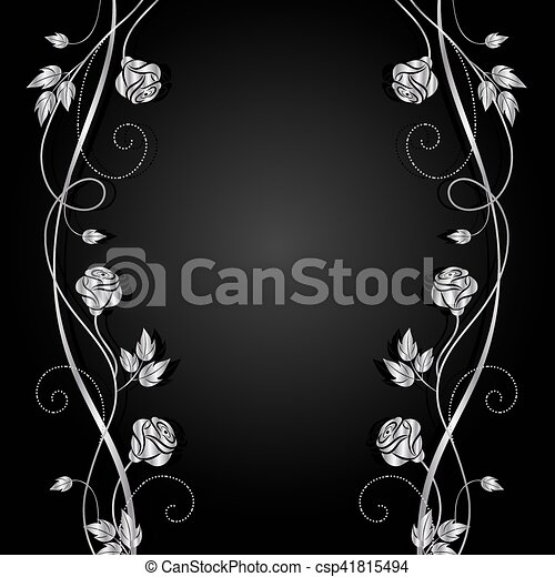 Silver flowers with shadow on dark background. - csp41815494