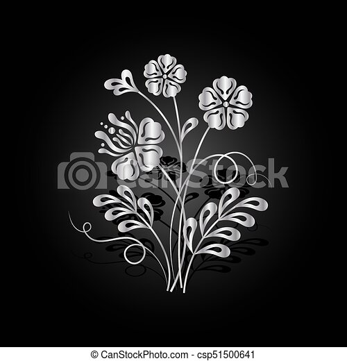 Silver flowers with shadow on dark background. - csp51500641