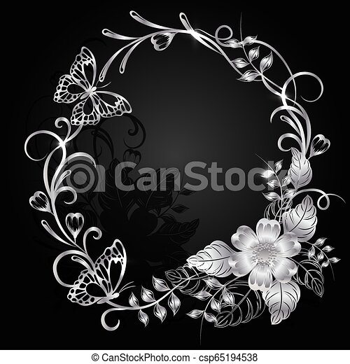 Silver flowers with shadow on dark background. - csp65194538