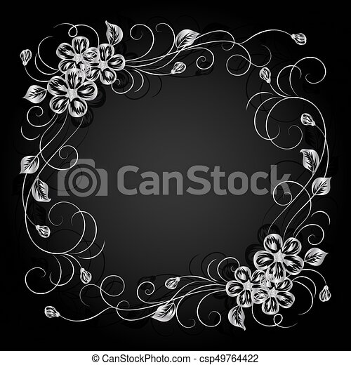 Silver flowers with shadow on dark background. - csp49764422
